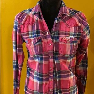 Hollister Plaid Flannel with snaps in pink & blue